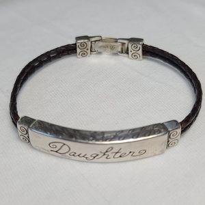 Brighton Braided Leather DAUGHTER Script bracelet